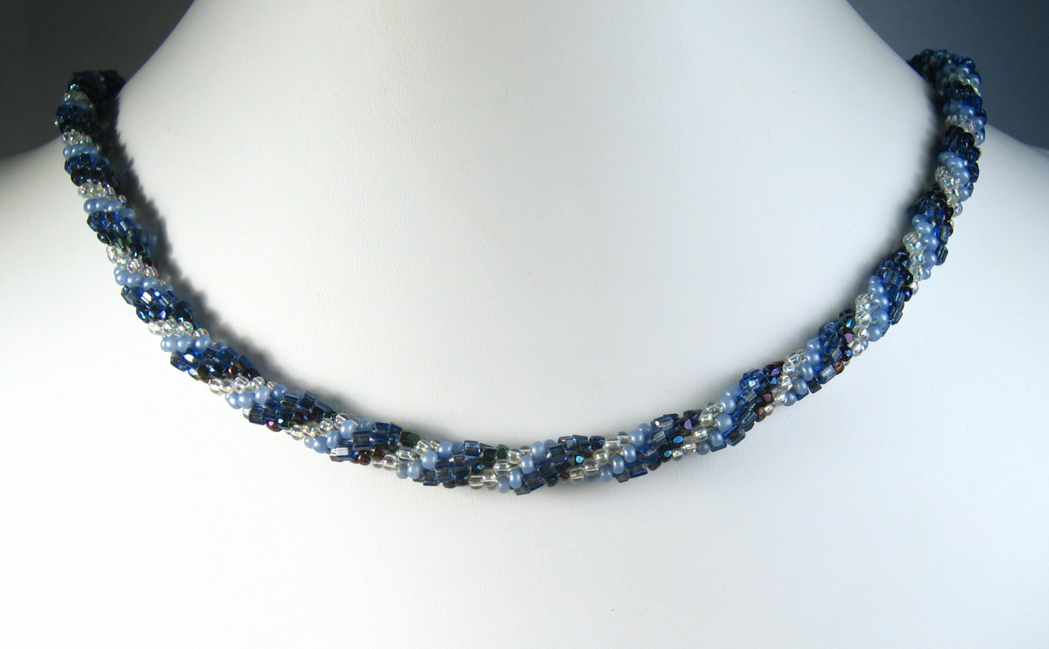 Hand Crocheted Blues Glass Seed Bead Necklace, Lyns Jewelry